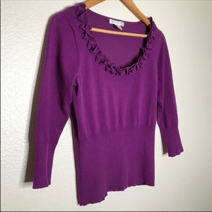 August Silk Scoop Neck Top Purple Size Small